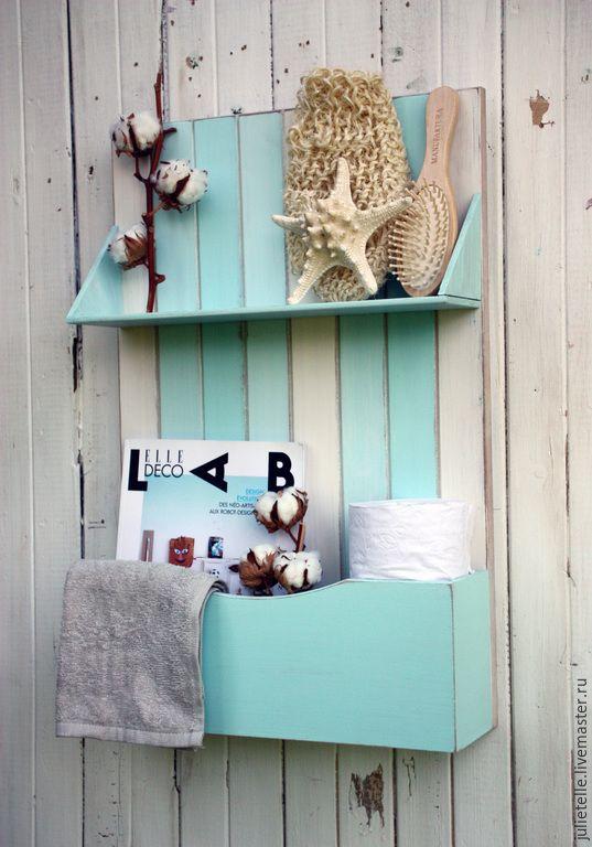 Купить Полка с карманом для туалетных принадлежностей - бирюзовый, ванная окмната, мебель для ванной, шкафчик для туалета
