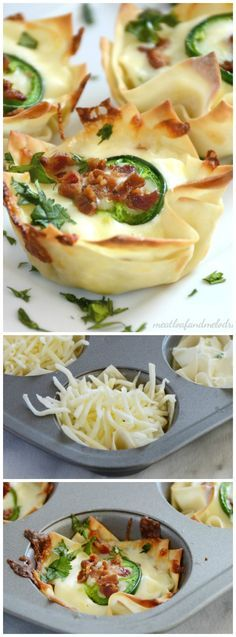 These Jalapeno Popper Cups with Bacon from Meatloaf and Melodrama are filled with cream cheese, jalapeno peppers and mozzarella cheese and topped with BACON!    Featured on www.thebestblogrecipes.com