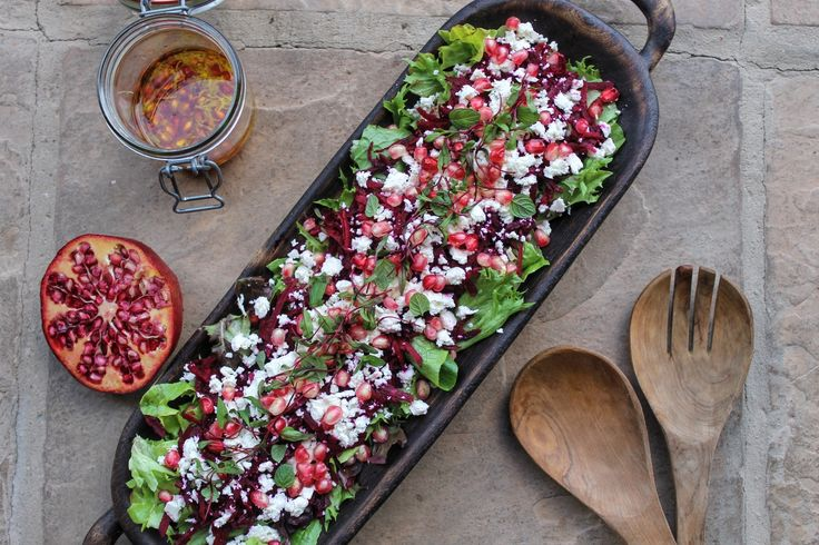 Beetroot and pomegranate salad with a lemon zest and pomegranate dressing.