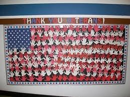 Thank You Veterans for Veterans Day Bulletin Board made from Kids Handprints (Grade K) or could use for US Study.