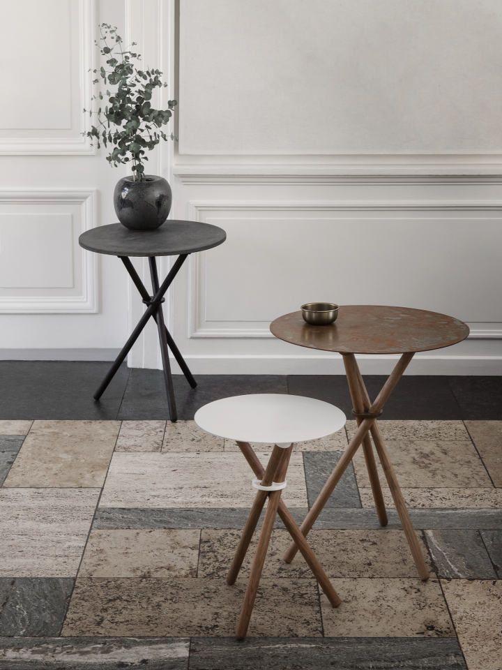 EH 9 - Stool or Side Table.  EH 10 - Side Table. #table #sidetable #steel #steeltable #oak #oaklegs #stool #chair #danishdesign #eberhartfurniture