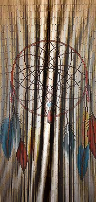 Bamboo Beaded Door Curtain - Dreamcatcher (Room Divider or Wall Art)
