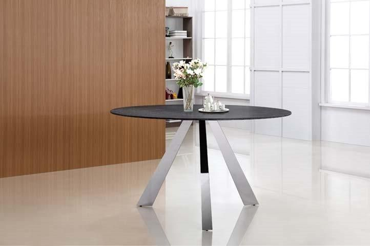 Casabianca MONDRIAN Stainless Steel Base / Gray Finish Glass Dining Table