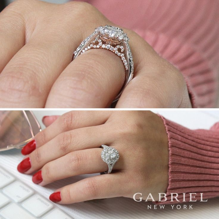 Gabriel NY -  Preferred Fine Jewelry and Bridal Brand. Luxurious and embracing 14k White gold / Rose Gold Oval Double Halo Engagement Ring. Find your nearest retailer-> https://www.gabrielny.com/storelocator