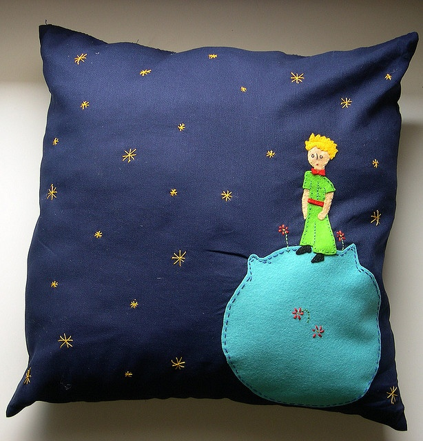 The Little Prince (Le Petit Prince) handmade pillow. Will my momma make this for my little guy? It reminds me of things she used to sew for me out of felt. :)