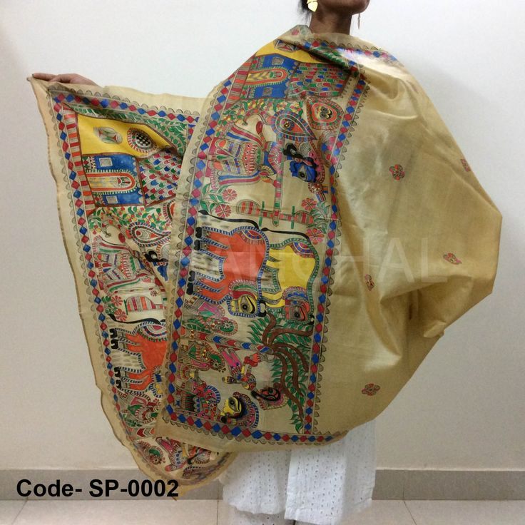 Light brown Paper Silk with mythological depiction of Krishna playing flute with Gopis. This form of colorful Madhubani is called Color Painting, typically used to depict village life.   Size: L*W (2 mtr *1 mtr)