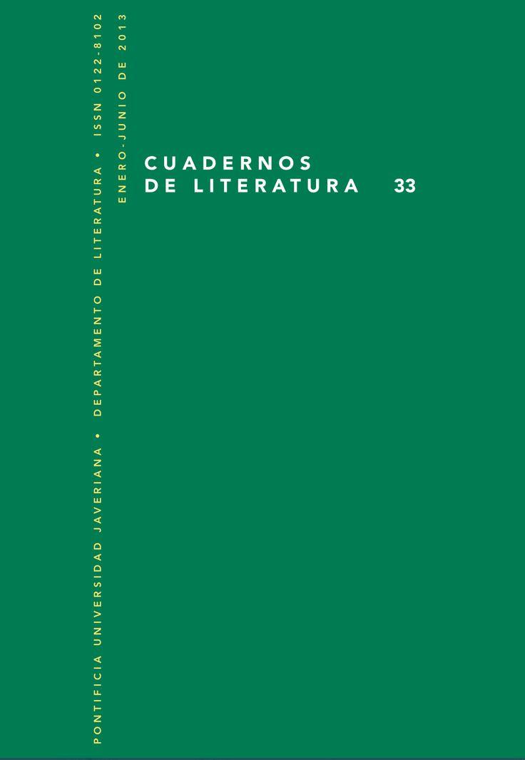 Cuadernos de Literatura 33 (2013) http://revistas.javeriana.edu.co/index.php/cualit/issue/view/495