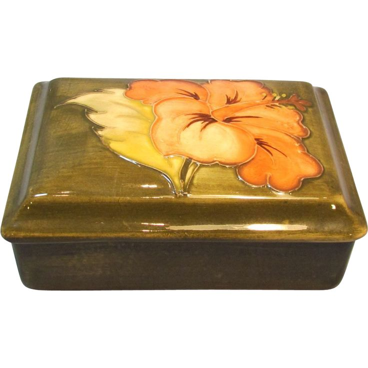 Moorcroft Coral Hibiscus Trinket or Dresser Box on Olive Background offered by the Old Stone Masion on Ruby Lane