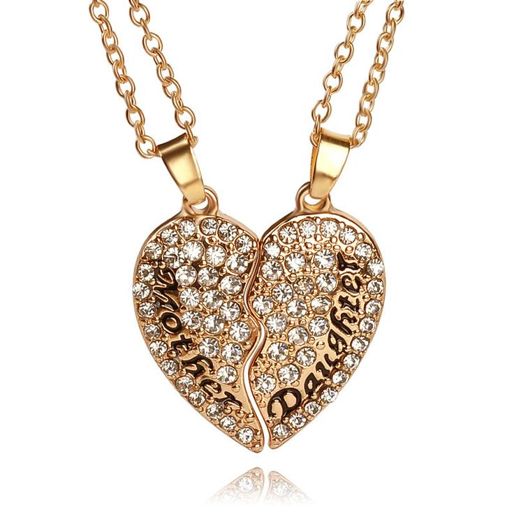 2pcs/set Heart Mother Daughter Cubic Zirconia Necklace Crystal Heart Shaped Pendant Necklace Mothers Day Chrismas Gifts For Mom //Price: $14.00 & FREE Shipping //     #pendant