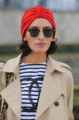 Stripes + trench + turban + sunglasses