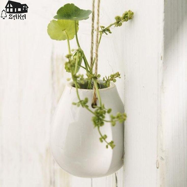 Gratis verzending Nieuwe collectie Zakka Nordic stijl opknoping witte keramische vaas Eieren fles Compact woondecoratie geschenken