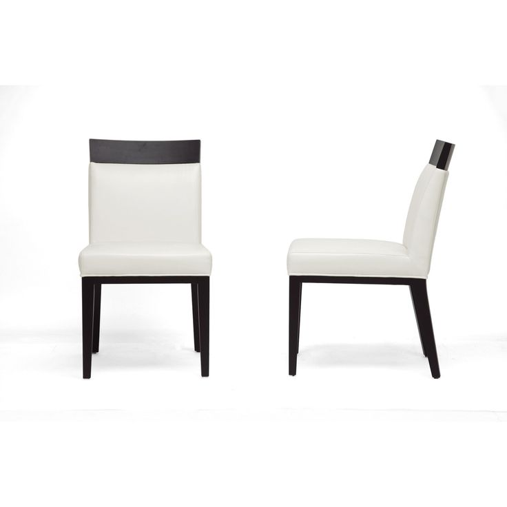 Baxton Studio Clymene Black Wood And Cream Leather Modern Dining Chairs  (Set Of 2)
