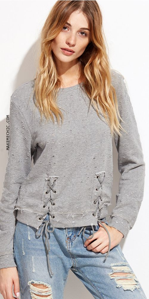 Heather Grey Distressed Lace Up Front Sweatshirt