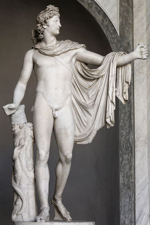 Attributed to LEOCHARES. Apollo Belvedere, Roman copy after a Greek bronze original of 330–320 BCE, circa 130-140 CE, marble.