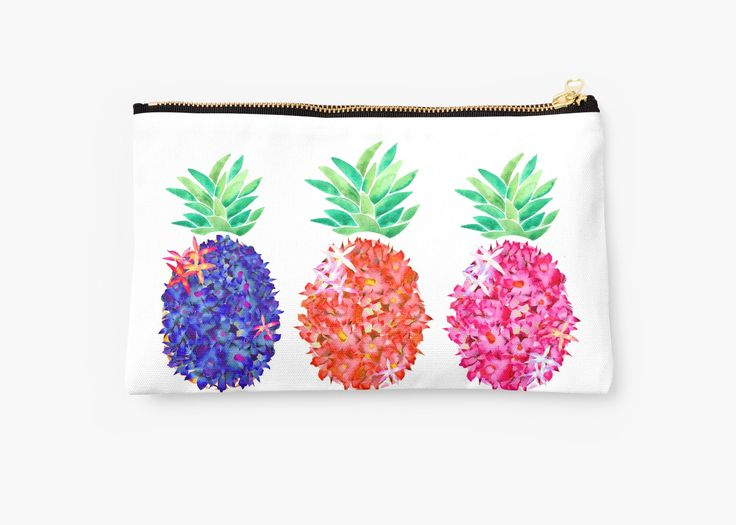 Watercolor Pineapple and digital illustration. • Also buy this artwork on bags, apparel, stickers, and more. Floral Pineapples by amayabrydon @redbubble #metalprint #art #artprint #pineapples #watercolor #plant #botanical #tropical #redbubble #artist # amaya #studiopouch #bag #makeup