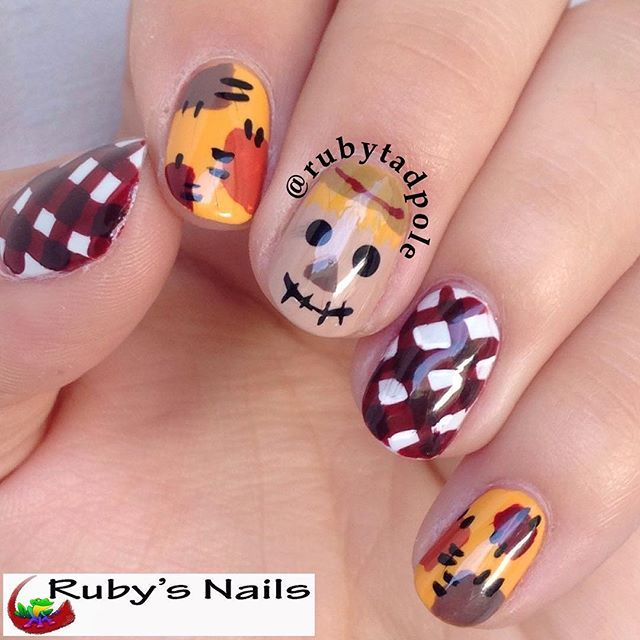 Is is fall yet? Wisconsin sure is teasing about the weather! It'll be cool for a few days, then warm back up. But I'm still enjoying the pumpkin treats in the stores  Today's mani is inspired by Slightly Nail Polished (I don't see her on IG at all) and 100% freehand Products used: *Funky Fingers Dark Knight *OPI Chop-sticking to My Story *OPI My Boyfriend Scales Walls *OPI The IT Color *Sinful Colors Nirvana *Zoya Taylor *Zoya Pepper