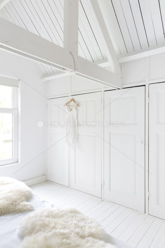 All white attic space.