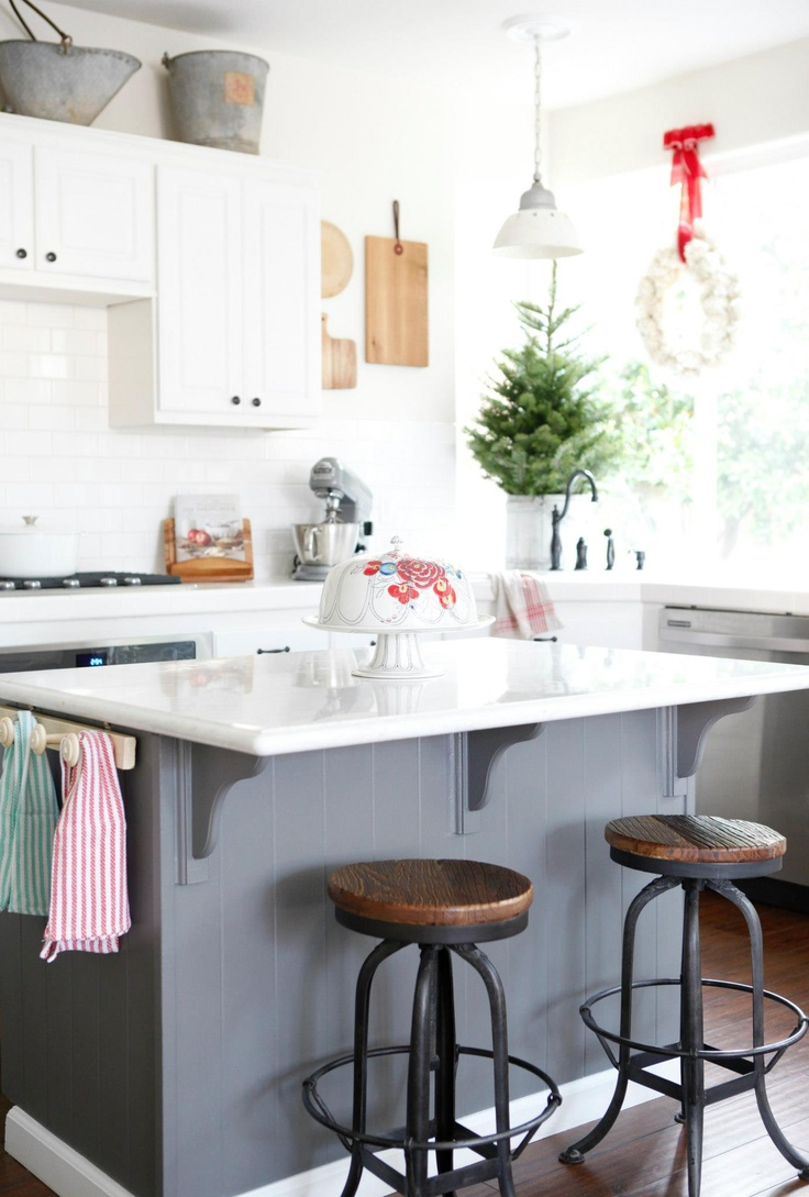 Two Toned Kitchen Paint Job With A Gray Island.