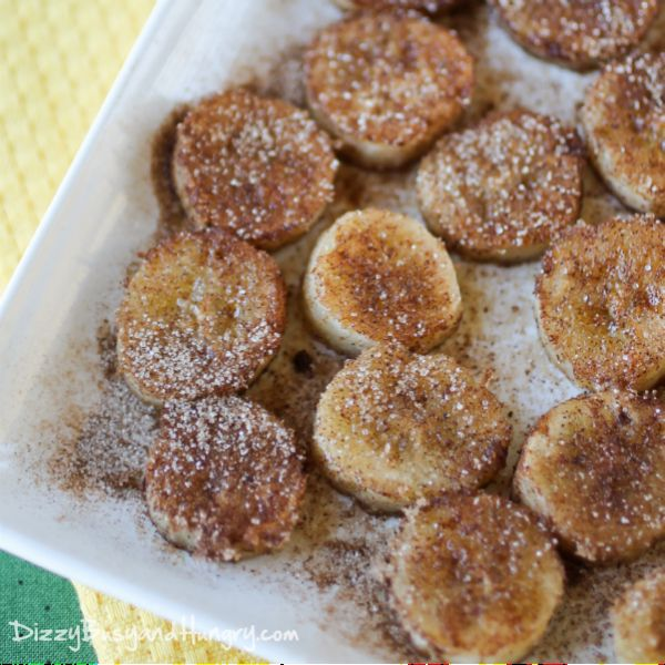 Cinnamon Bananas by dizzybusyandhungry: Great for overripe bananas brown these in the pan with just a touch of olive oil spray. #Bananas #Cinnamon #Healthy