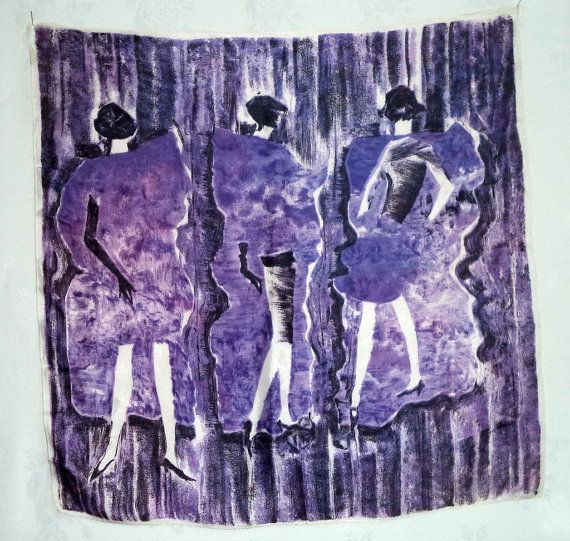 Exquisite 50s Italian art Scarf Hand Printed by MushkaVintage3