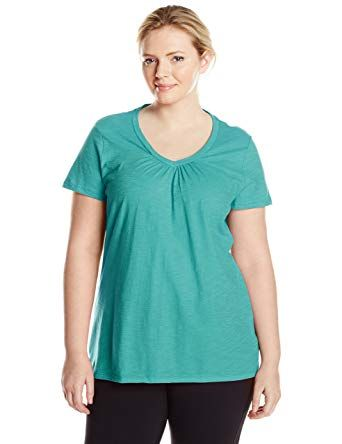 3ff30234a89 Just My Size Women's Short Sleeve Shirred V-Neck Tee, Eco Teal, 4X ...