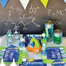 kids mad scientist party with cute kids place settings