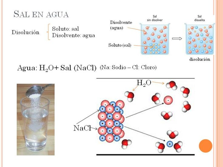 Ejemplo de una disolución de sal en agua, donde la sal es el soluto y el disolvente el agua.