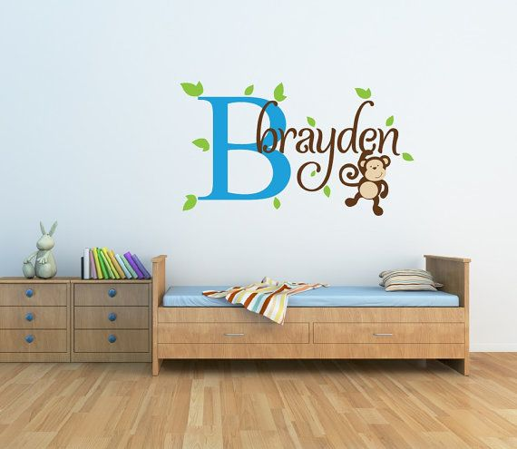 Monkey Name Wall Decal  Boys Name Wall Decal  by NewYorkVinyl