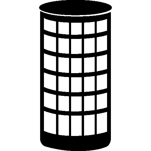 Cylindrical building made of glass I Free Icon
