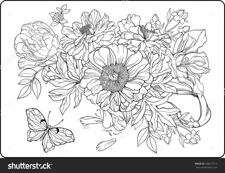 Close Up View Of Bunch Flowers And A Butterfly Coloring Page