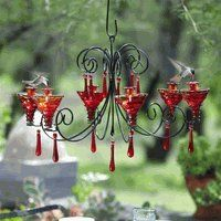 red chandelier for hummingbirds! The hummingbirds and I would just love this!