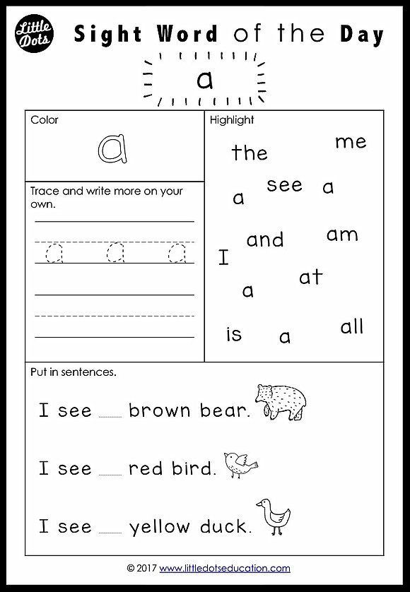 Free Pre K Dolch Sight Words Worksheets Set 1 Little Dots Education Preschoo Kindergarten Worksheets Sight Words Sight Word Worksheets Teaching Sight Words