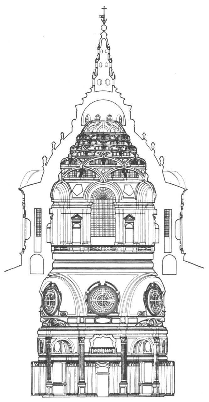 """ITALIAN BAROQUE ARCHITECTURE, Piedmont; section of Cappella della SS. Sindone, 1667-90, Turin Cathedral, by Guarini. """"The upper stage of the dome are composed of diminishing tiers of flattened rib-like arches stacked above each other like a house of cards, each framing a segmental window. This skeletal cone-shaped hexagon is surmounted by a circular lantern, rising from a ring supported by ribs forming a star pattern."""""""