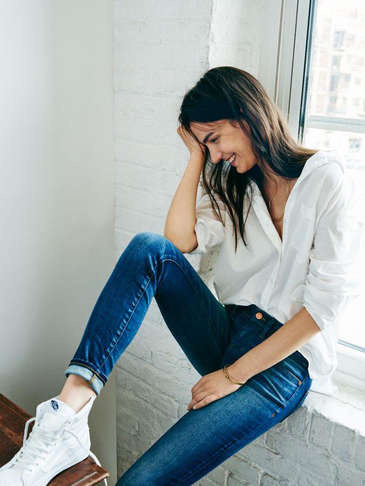 madewell skinny skinny jeans worn with the oversized boyshirt + vans® sk8-hi slim zip high-top sneakers. #denimmadewell