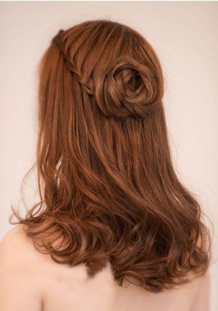 Rose braid half updo