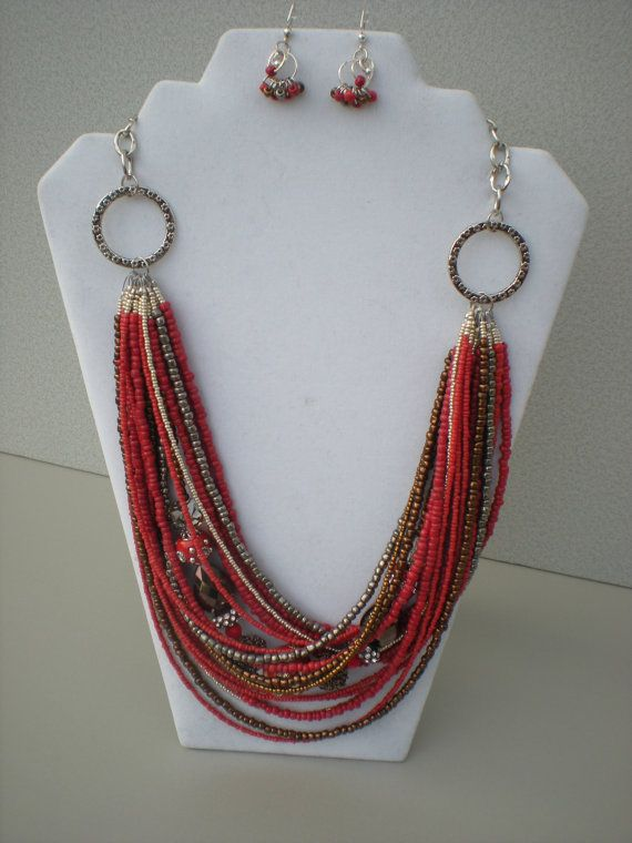 Necklace Seed Bead Multi Strand Silver Beads Autumnal Fall ...