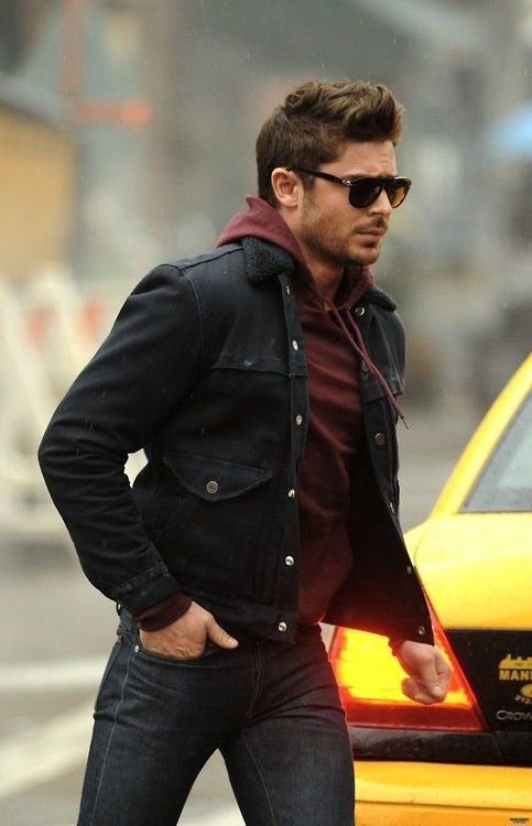 Shop this look for $69:  http://lookastic.com/men/looks/burgundy-hoodie-and-black-denim-jacket-and-charcoal-jeans/1770  — Burgundy Hoodie  — Black Denim Jacket  — Charcoal Jeans