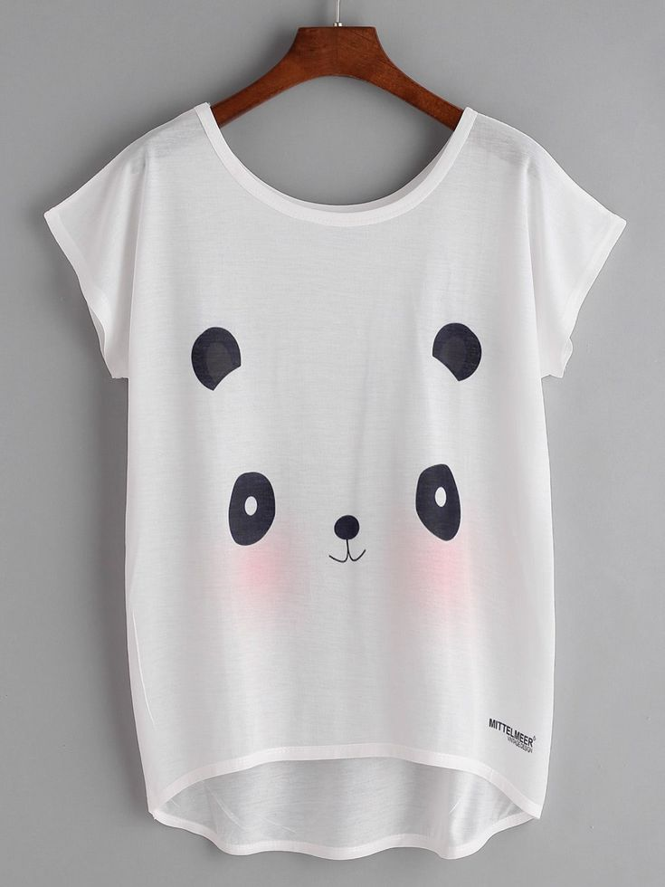 Short Sleeve T-Shirts. T-Shirts Designed with Round Neck. Regular fit. Animal, Cartoon design. Trend of Summer-2018. Designed in White. Fabric has no stretch.