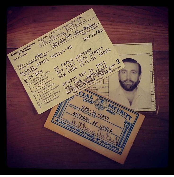 Roy DeMeo's phony driver's license and social security card in the name of Anthony DeCarlo.