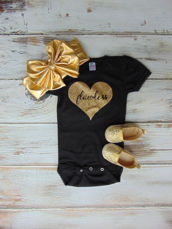 Flawless Gold Glitter Heart Bodysuit - Gold Glitter Newborn, Infant, Toddler Shirt - One Piece Outfit - Ann Marie Avenue