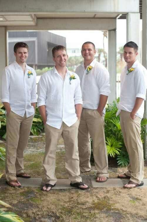 Simple beach wedding attire for the Groom & groomsmen.