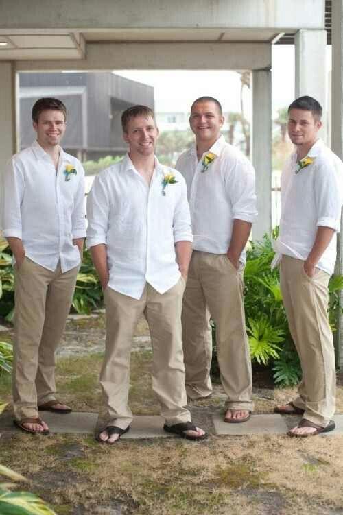 Simple beach wedding attire for the Groom & groomsmen.