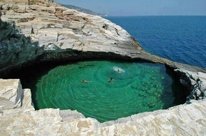 Thassos natural pool in Greece