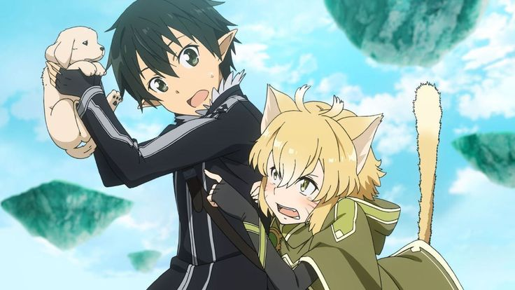kirito, argo, and a puppy from sao lost song | sword art online