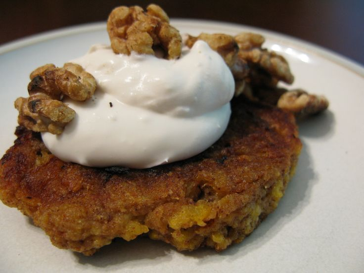 Plantain Pancakes with Maple Coconut Cream and Toasted Walnuts  @The Paleo Mom