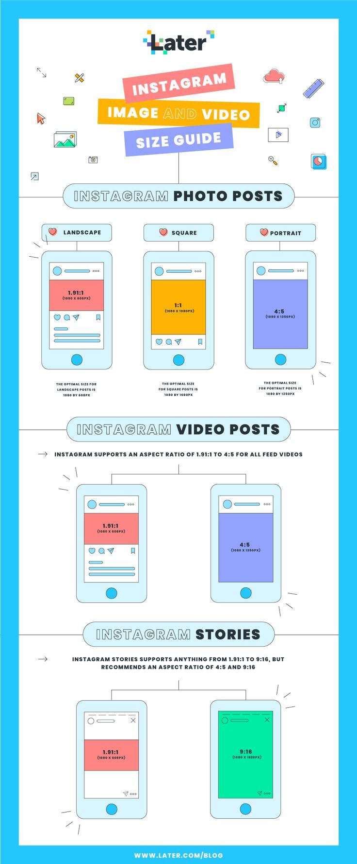 Instagram Image Size Dimensions For 2021 Free Infographic Later Blog Instagram Dimensions Instagram Story Instagram Design