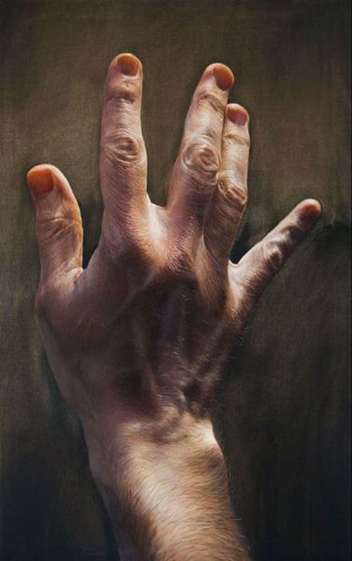 Give Him a Hand hyperreal paintings by Javier Arizabalo
