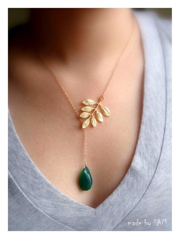 Emerald wedding, Leaf necklace ,Fern leaf and Green onyx lariat 14k gold filled chain, custom stone,Bridesmaid gifts, birthday