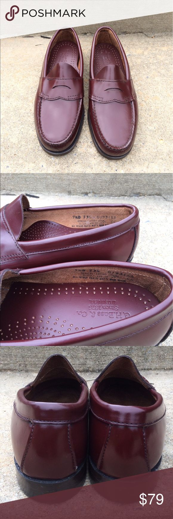 Burgundy Bradford Penny Loafer Men's NWOT Burgundy Bradford Penny Loafer Men's NWOT. 100% AUTHENTIC  BASS IS A LEADER IN GENUINE HAND SEWN MOCCASIN. HAS BEEN CRAFTING MOCCASINS WITH THE GOAL OF CRAFTING THE BEST SHOES IN THE WORLD. OUR BRADFORD PENNY LOAFER FEATURES A BEEFROLL DESIGN, IS HAND-STITCHED AND IS UNIQUELY COMFORTABLE, DURABLE, AND FLEXIBLE. IT IS THE PERFECT SHOE FOR THE OFFICE OR ON A DATE AROUND TOWN.   SIZE: 7.5 BRAND NEW (NWOT) MISSING BOX.  BOTH SHOES HAVE A LITTLE HOLE IN…