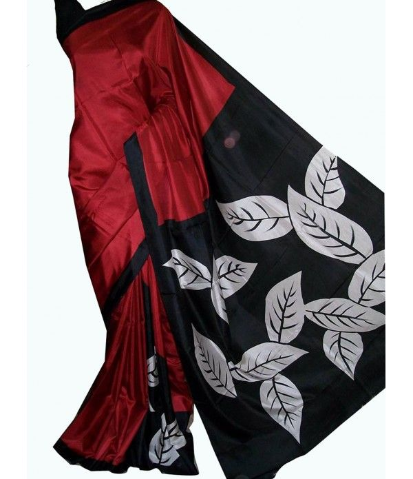 Maroon Handpainted Murshidabad Silk Saree